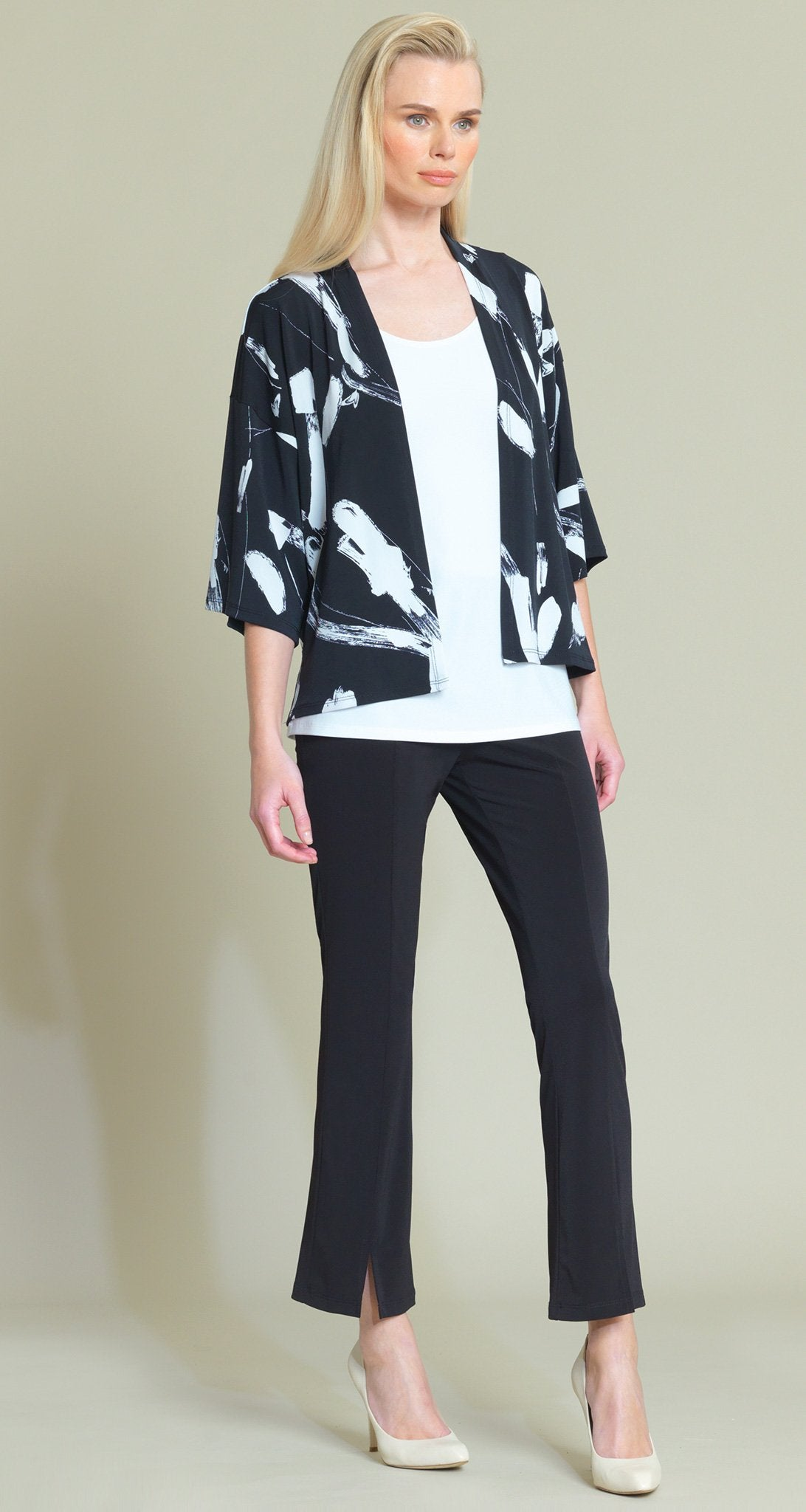 Brush Print Kimono Inspired Knit Cardigan - Black - Clara Sunwoo