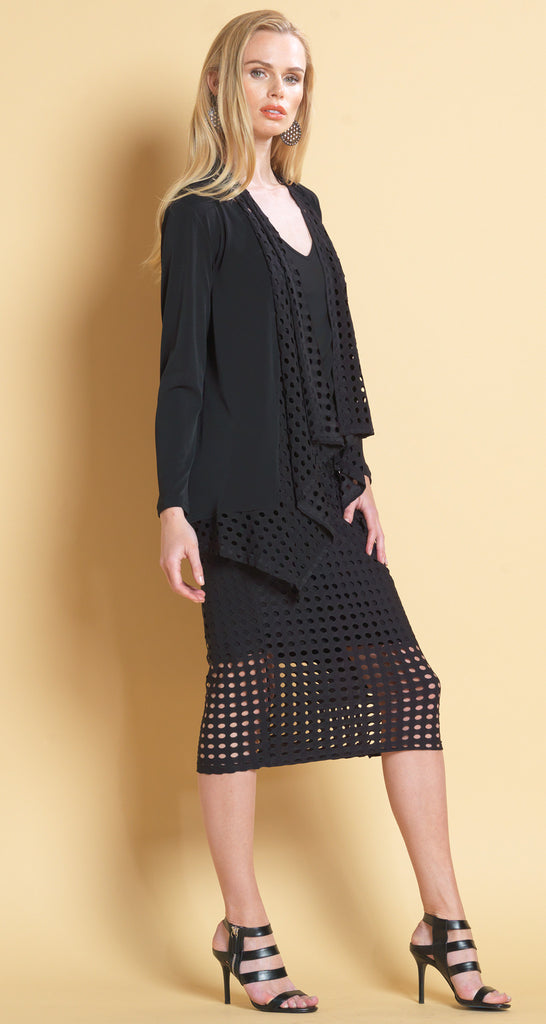 Perforated Scarf Trimmed Cardigan - Black - Final Sale