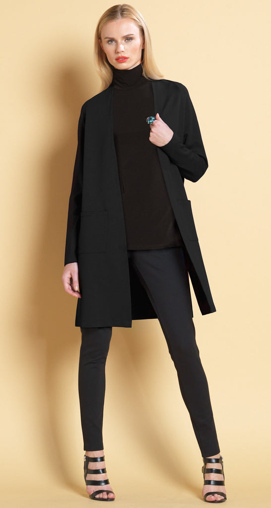 Classic Ponte Pocket Cardigan - Black