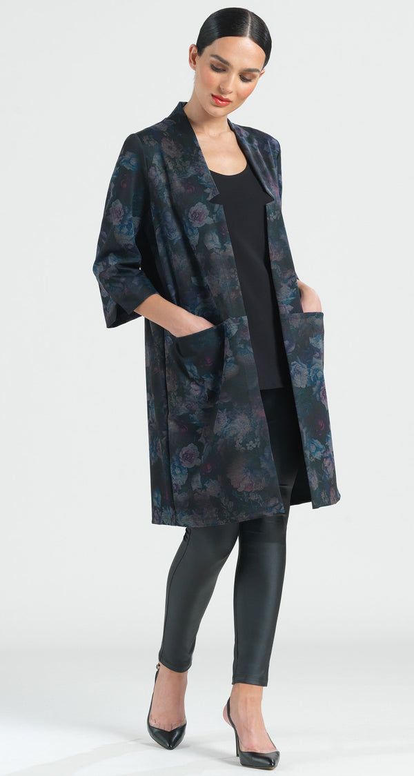 Ponte Floral Flash Duster Pocket Cardigan - Plum - Final Sale! - Clara Sunwoo