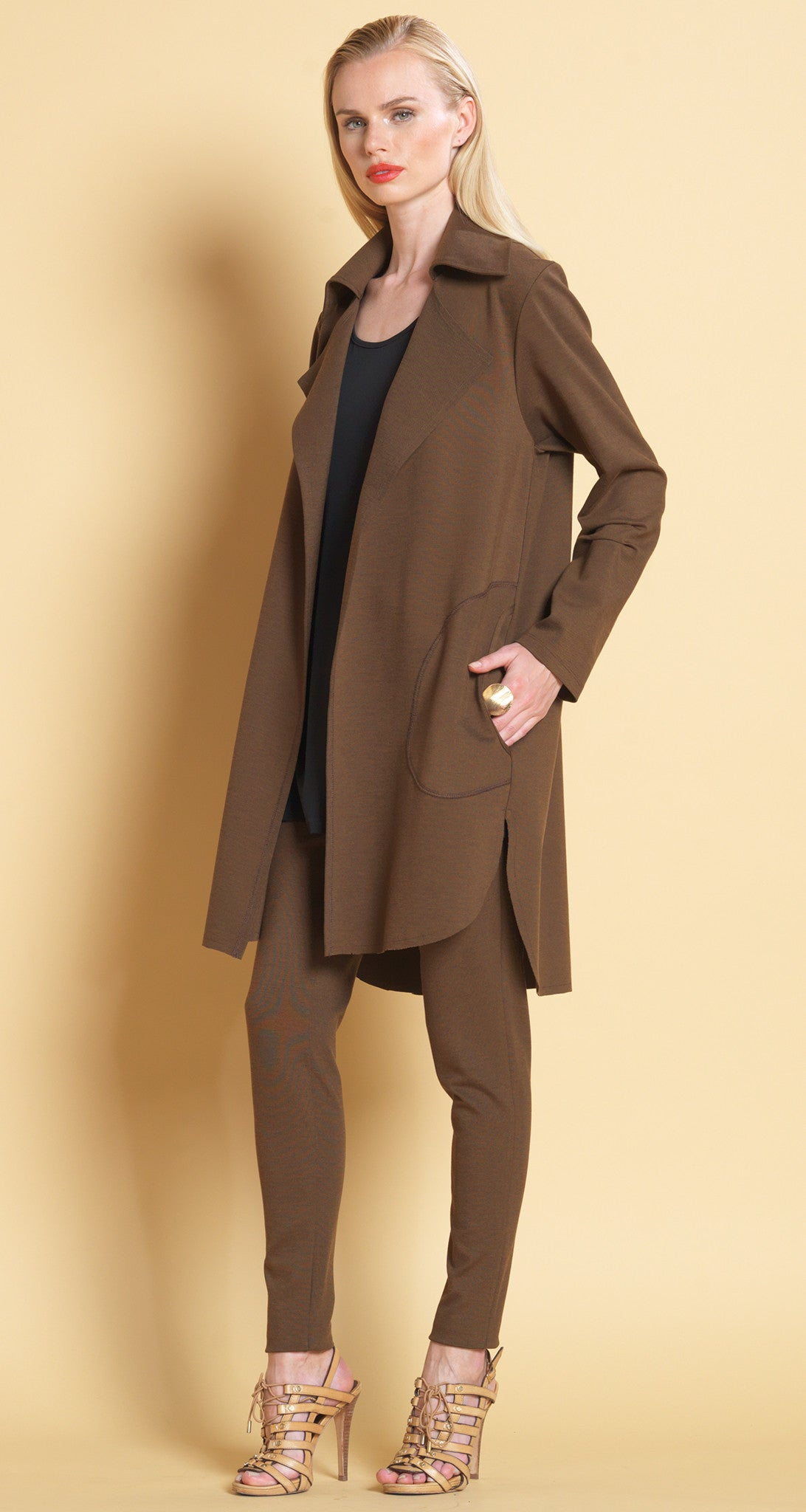 Ponte Collared Cardigan - Brown