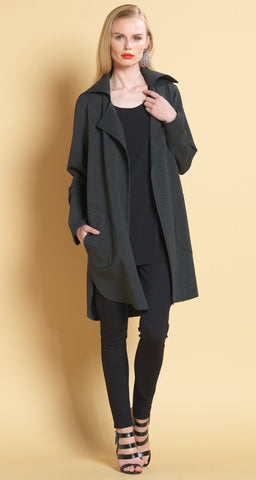 CA415 Charcoal Ponte Collared Cardigan