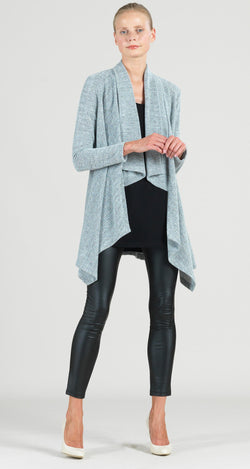 Waffle Knit Herringbone Stitch Sweater Drape Cardigan - Oatmeal