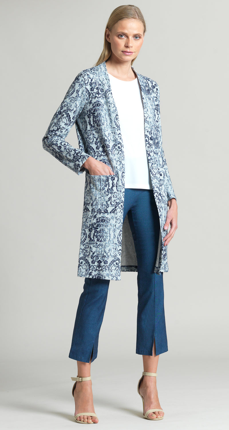 Paisley Print Jacquard Pocket Cardigan - Navy/Grey - Final Sale! - Clara Sunwoo