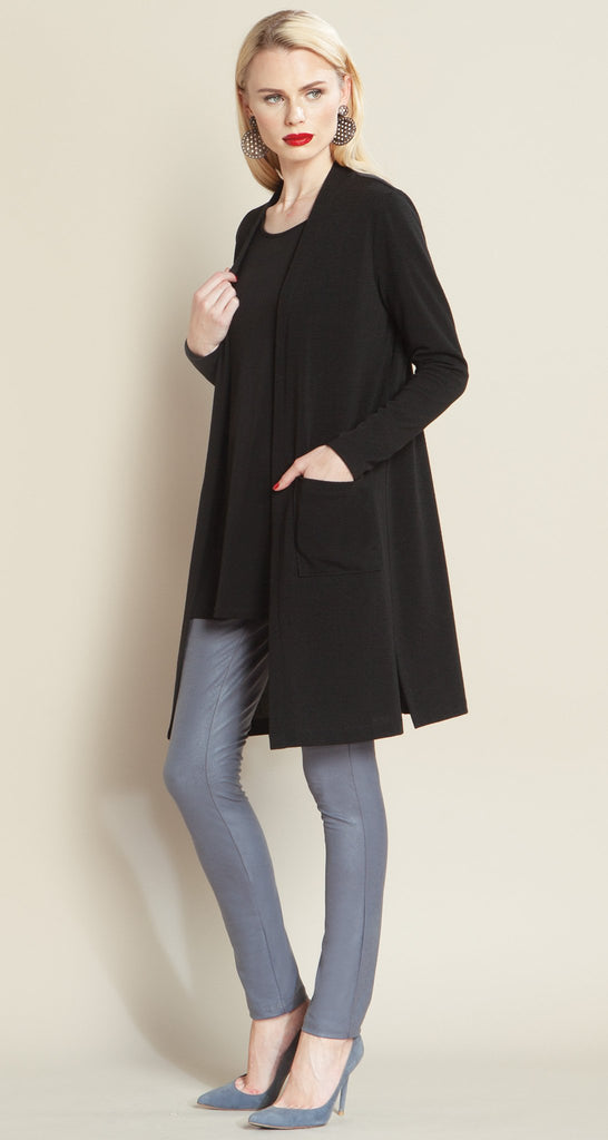 Modern Pocket Sweater Cardigan - Black