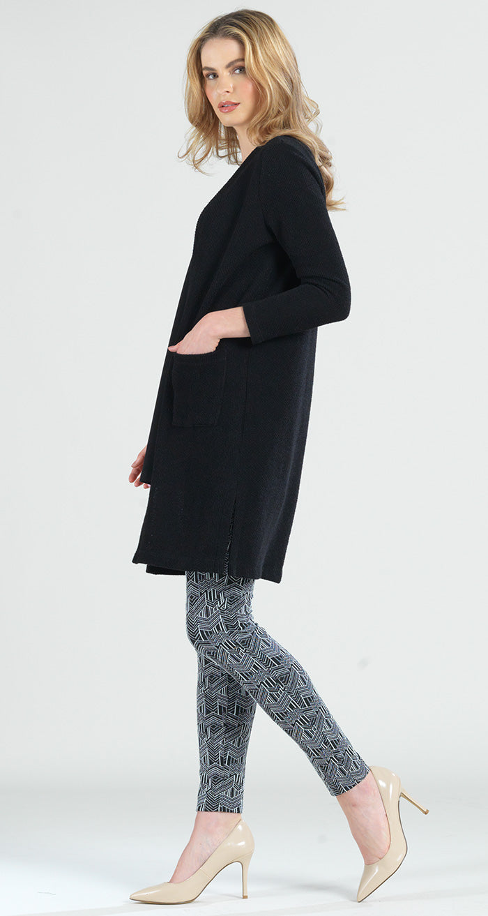 Twill Sweater Pocket Duster Cardigan - Black - Limited Sizes!