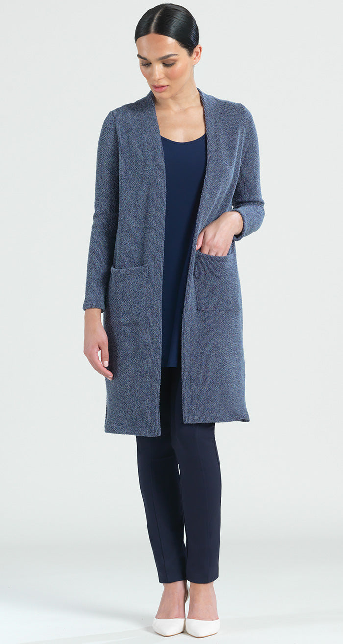 Twill Sweater Pocket Duster Cardigan - Navy - Final Sale! - Clara Sunwoo