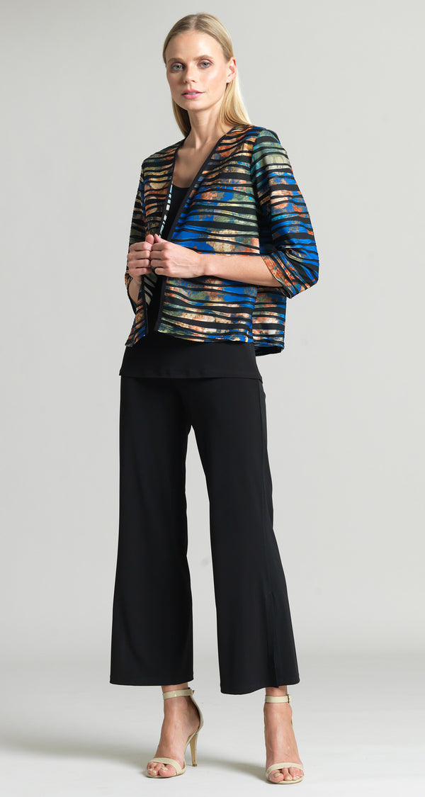 Bolero Style Jacket with Piping - Royal Multi - Final Sale! - Clara Sunwoo