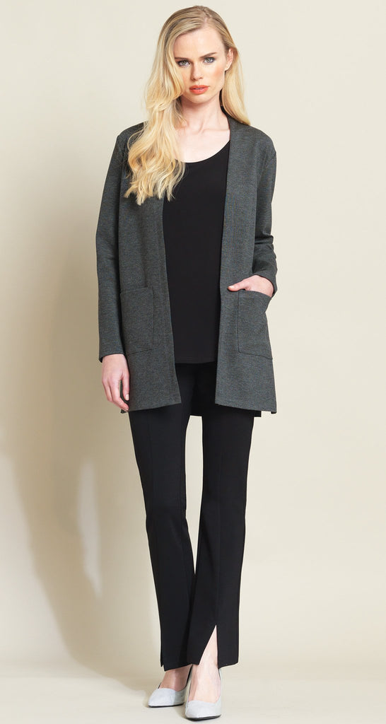 Ponte Pocket Cardigan  - Charcoal