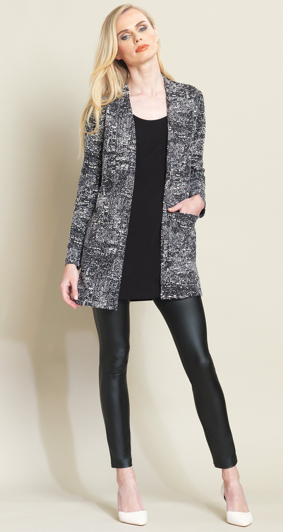 Tweed Print Jacquard Pocket Cardigan - White/Black - Limited Sizes!