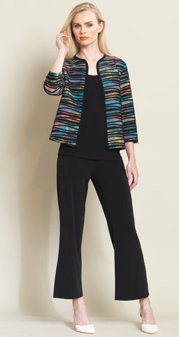 Multi Color Bolero Style Jacket - Blue/Black - Clara Sunwoo