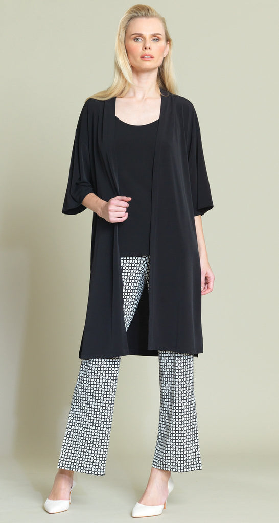 Solid Modern Kimono Duster - Black - Final Sale
