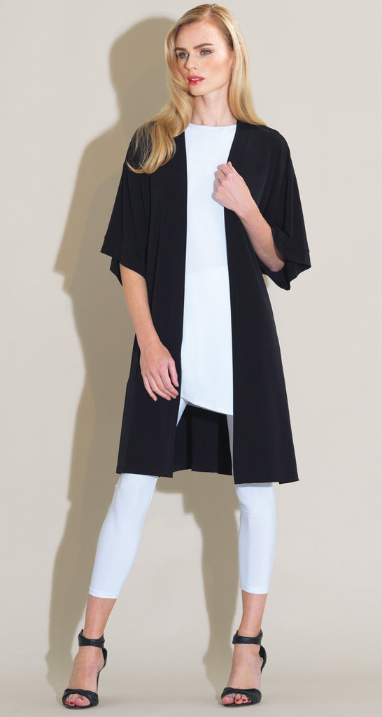 Solid Modern Kimono Duster - Black  - Final Sale!