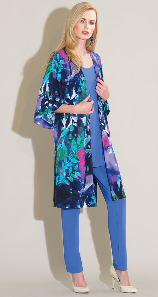 Floral Dream Print Kimono Inspired Cardigan - Navy Multi