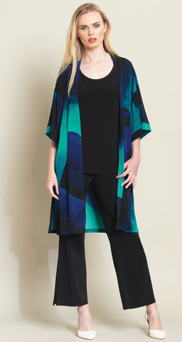 Watercolor Modern Kimono Duster - Blue Multi
