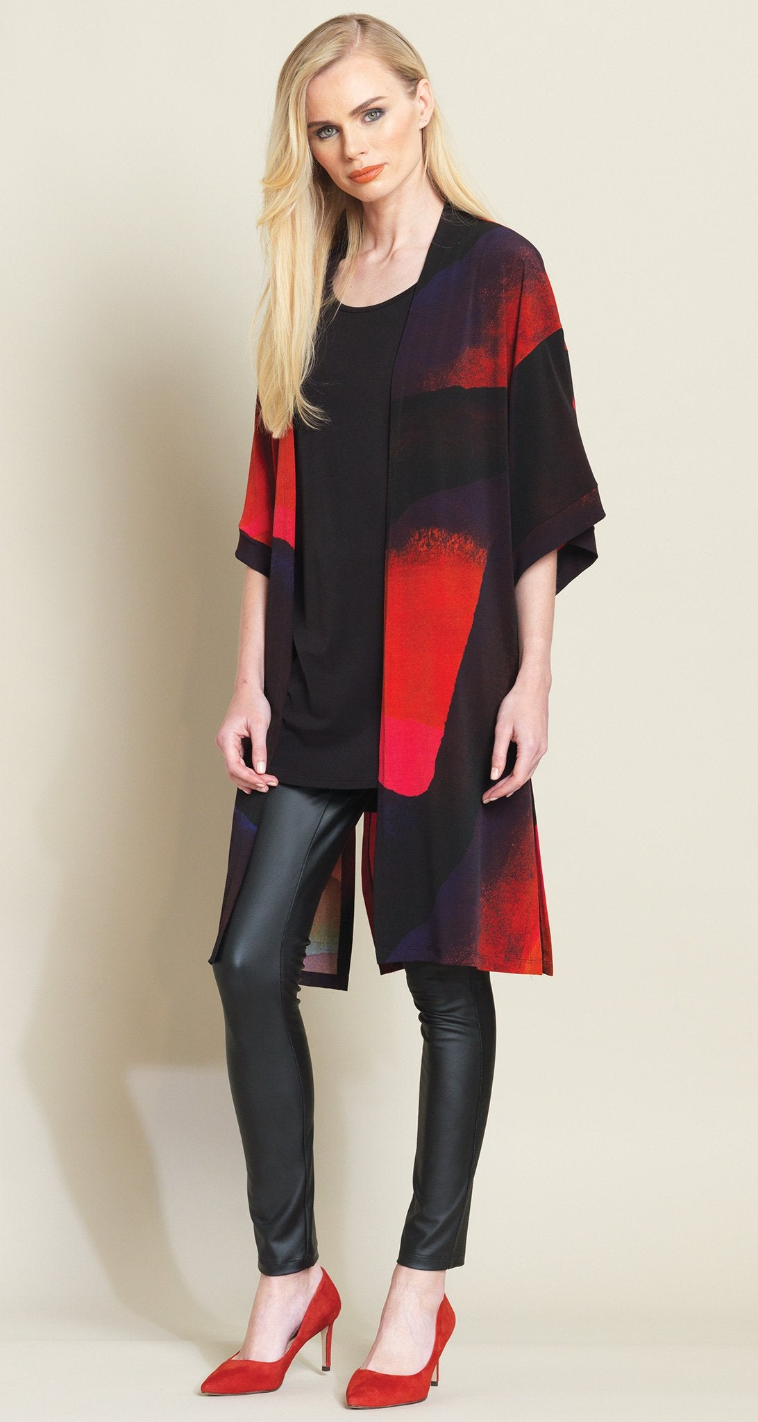 Watercolor Modern Kimono Duster - Red Multi - Final Sale!