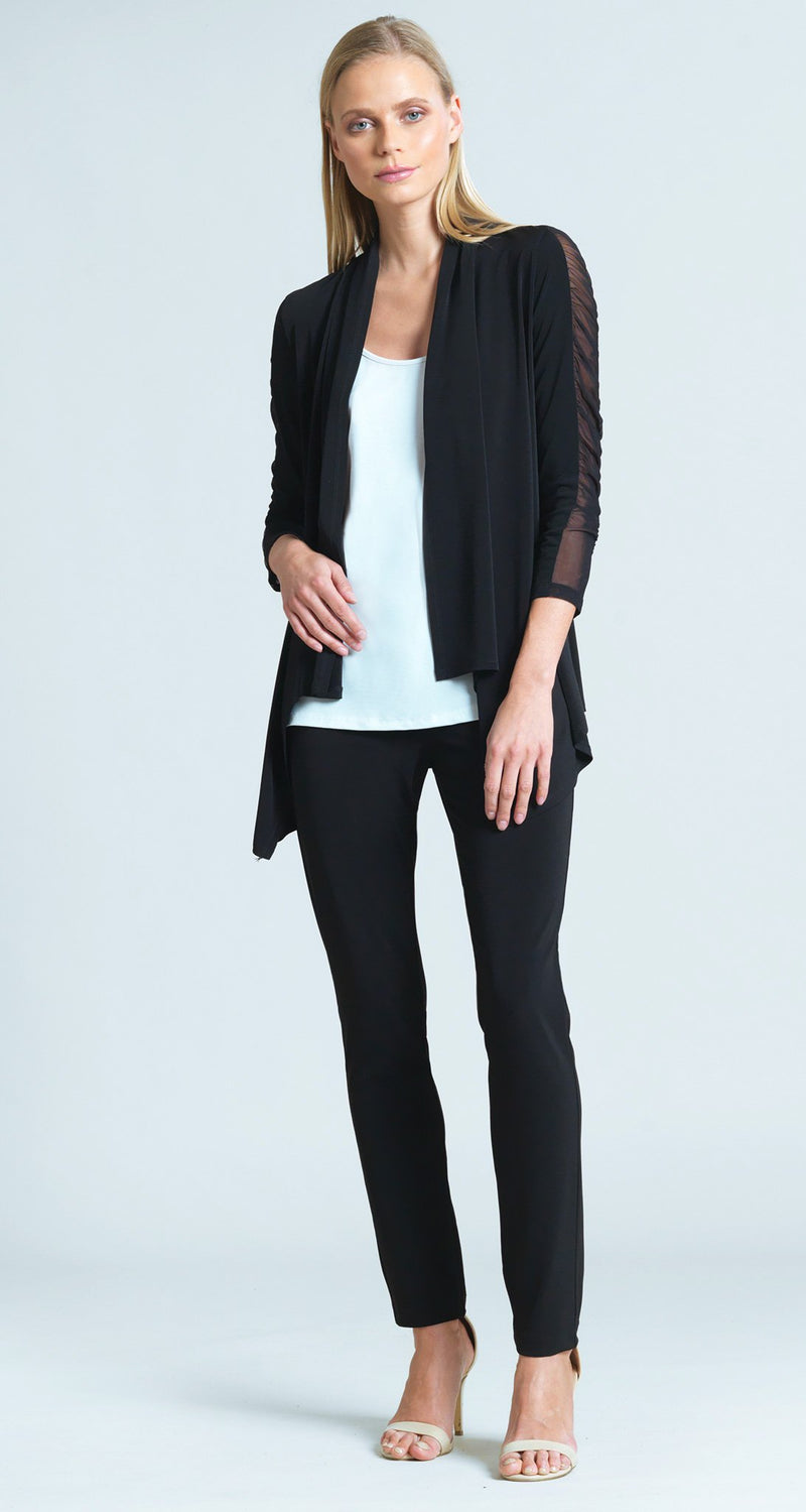 Ruched Mesh Sleeve Cardigan - Black