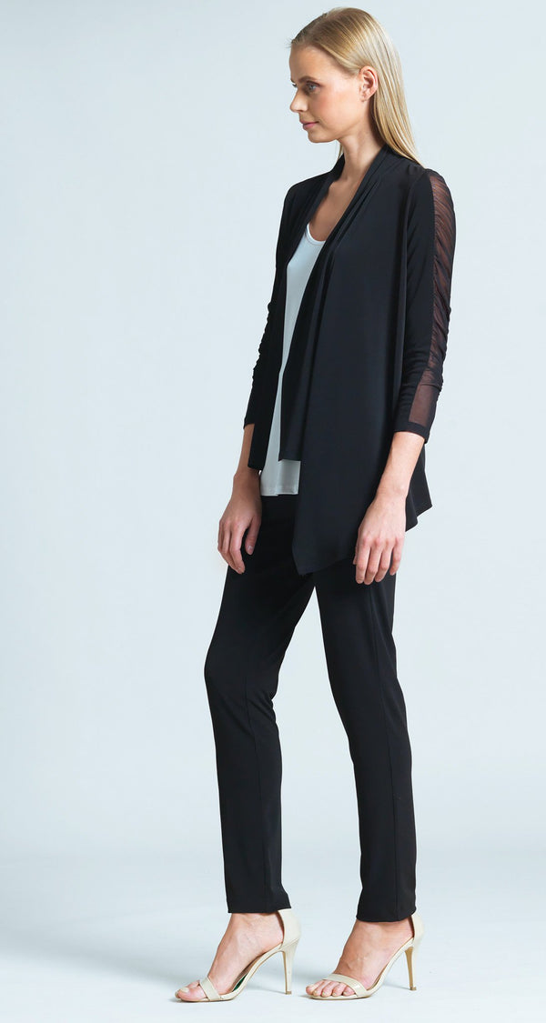 Ruched Mesh Sleeve Cardigan - Black - Limited Sizes!