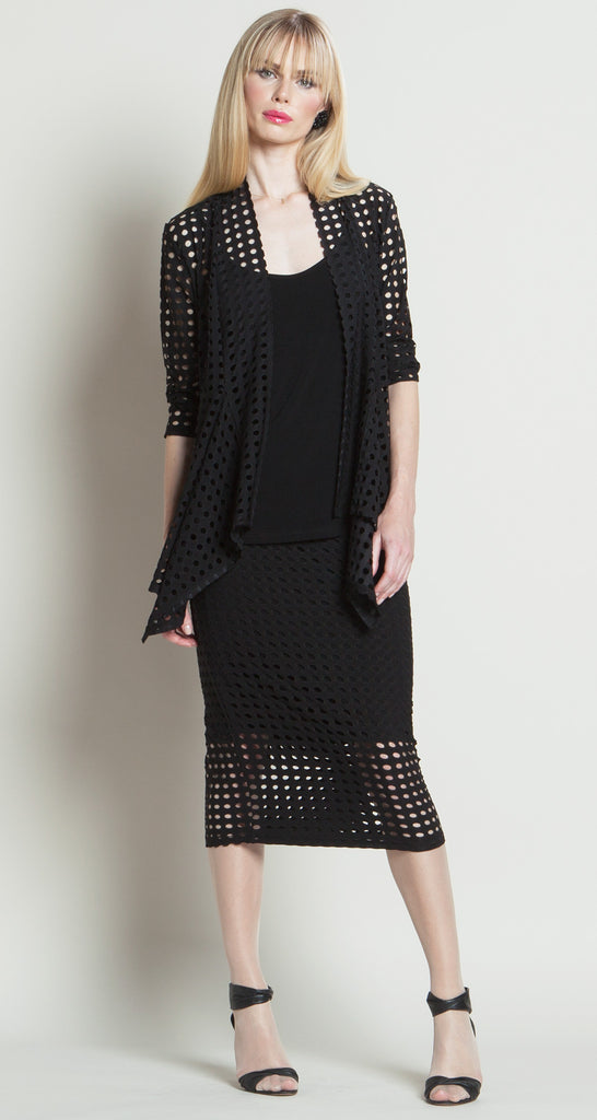 Perforated Soft Knit Cardigan - Black