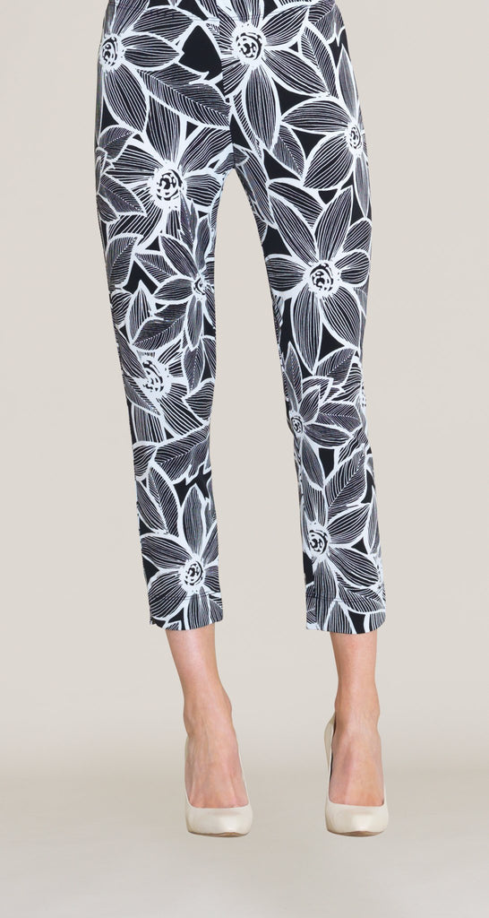 Sunflower Print Capri - White/Black