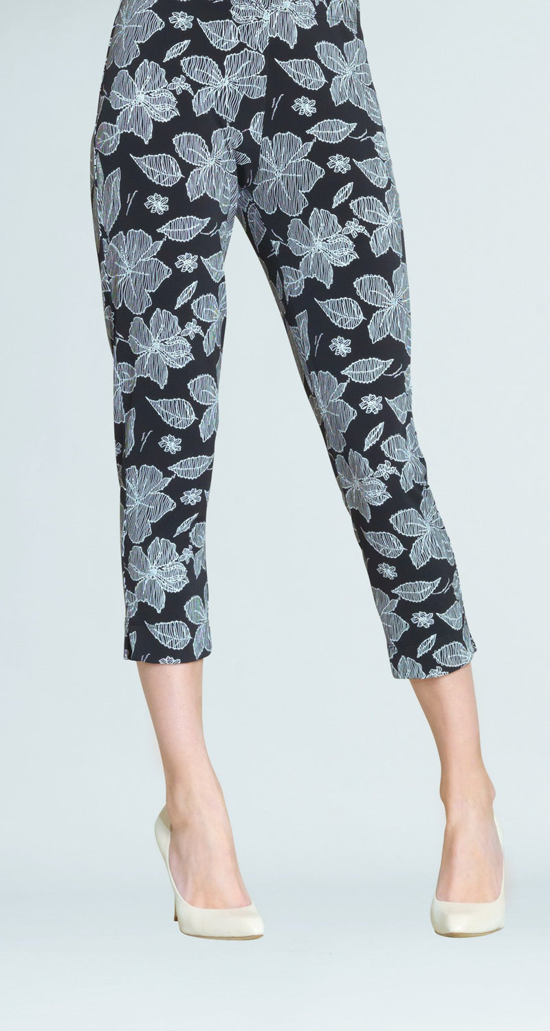 Floral Sketch Print Pull On Capri - Black/White - Final Sale!