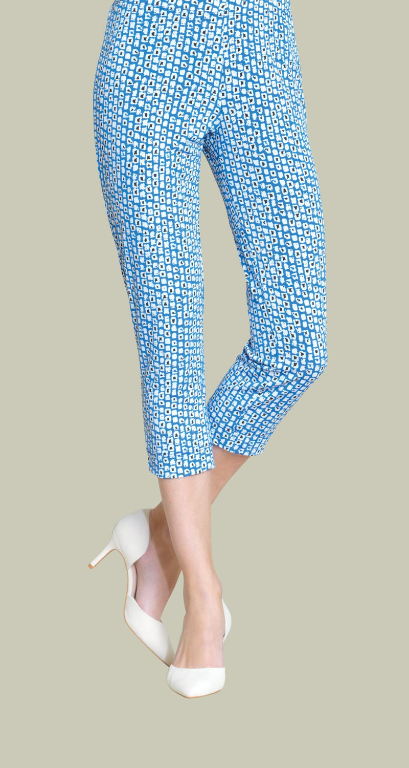 Mini Square Print Pull On Capri - Blue/White - Final Sale! - Clara Sunwoo