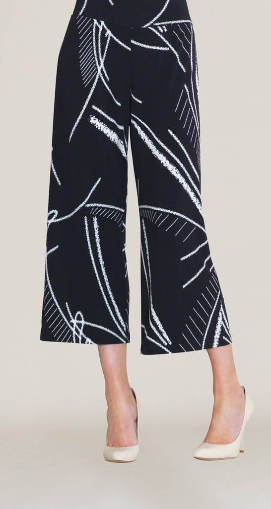 Fish Bone Sketch Print Gaucho Pant - Black/White
