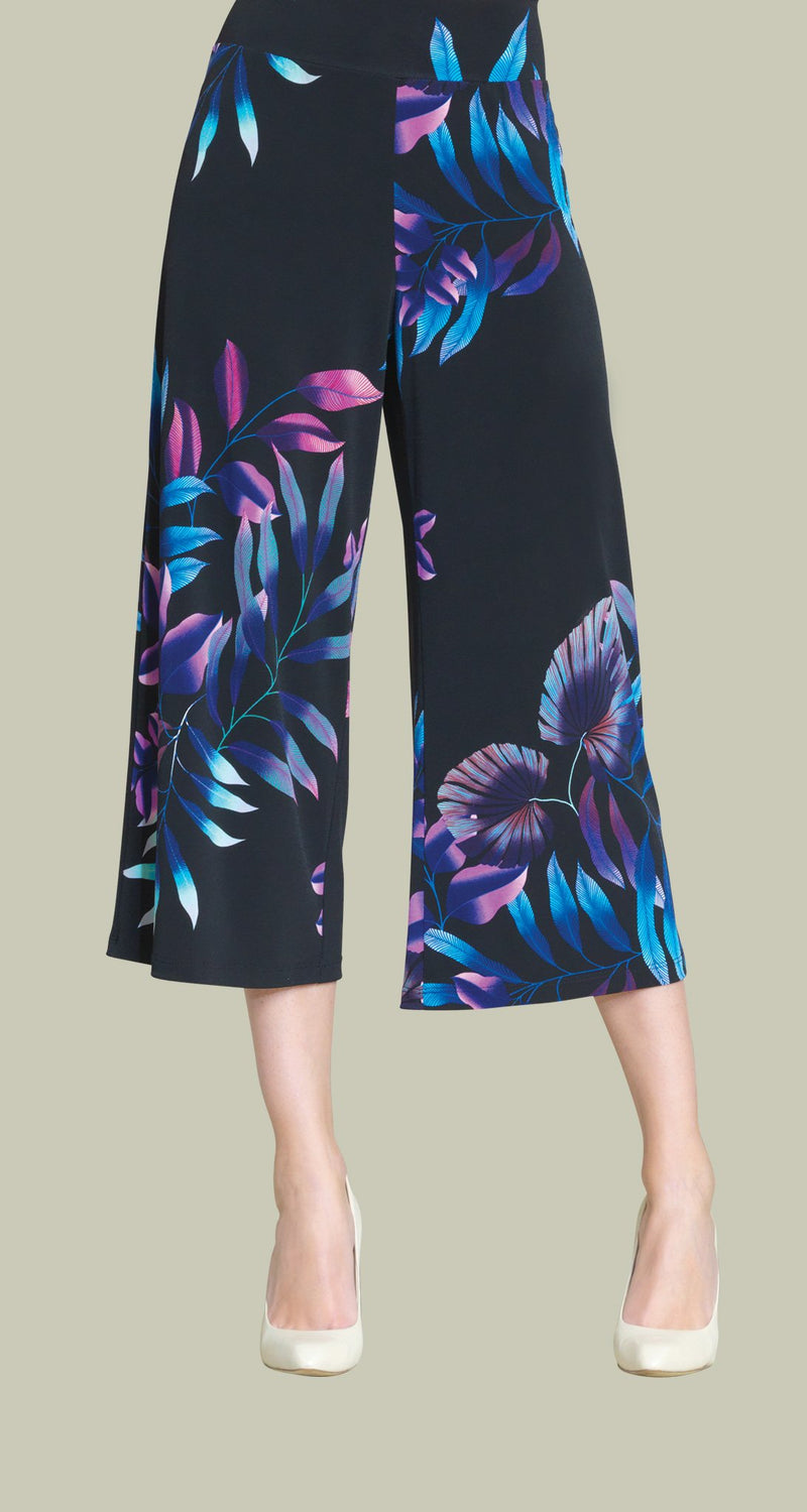 Tropical Leaf Print Modern Pull On Gaucho Pant - Pink Multi