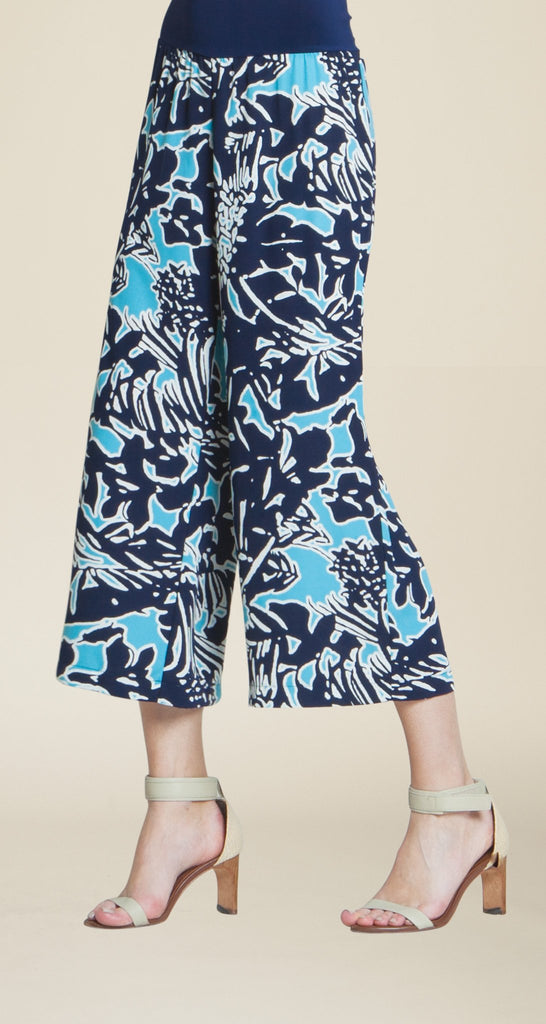 Floral Print Gaucho - Turquoise - Final Sale!