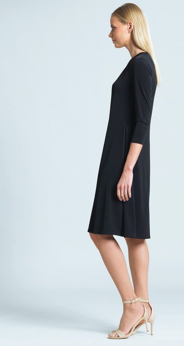 Faux Wrap V-Neck 3/4 Sleeve Dress - Black