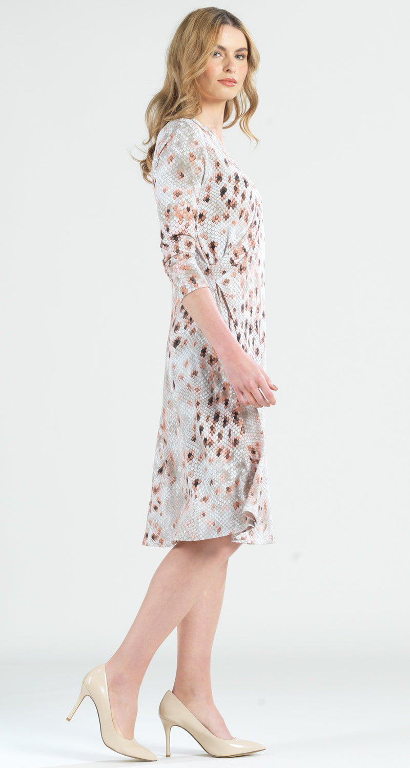 Python Faux Wrap V-Neck 3/4 Sleeve Dress - Final Sale! - Clara Sunwoo