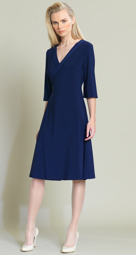 Faux Wrap V-Neck Dress - Navy