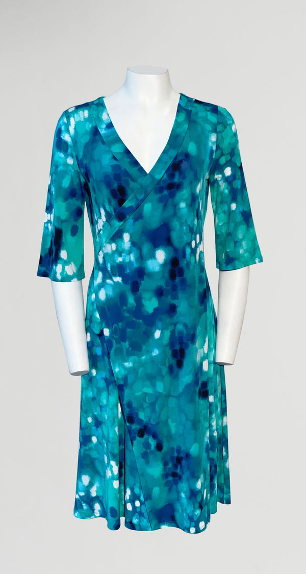 Water Drop Print Faux Wrap V-Neck Dress - Final Sale! - Clara Sunwoo