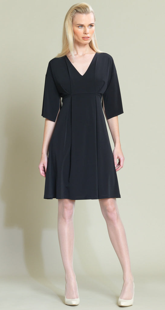 V-Neck Empire Pin Dress - Black - Limited Sizes!