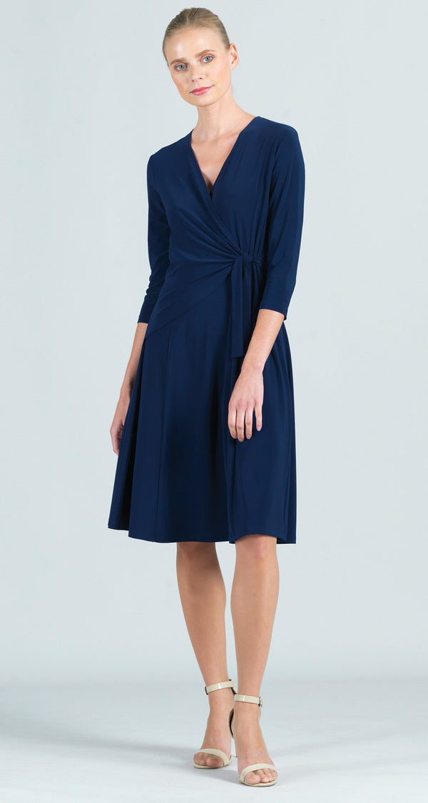 Solid Side Tie Wrap Dress - Navy - Final Sale!