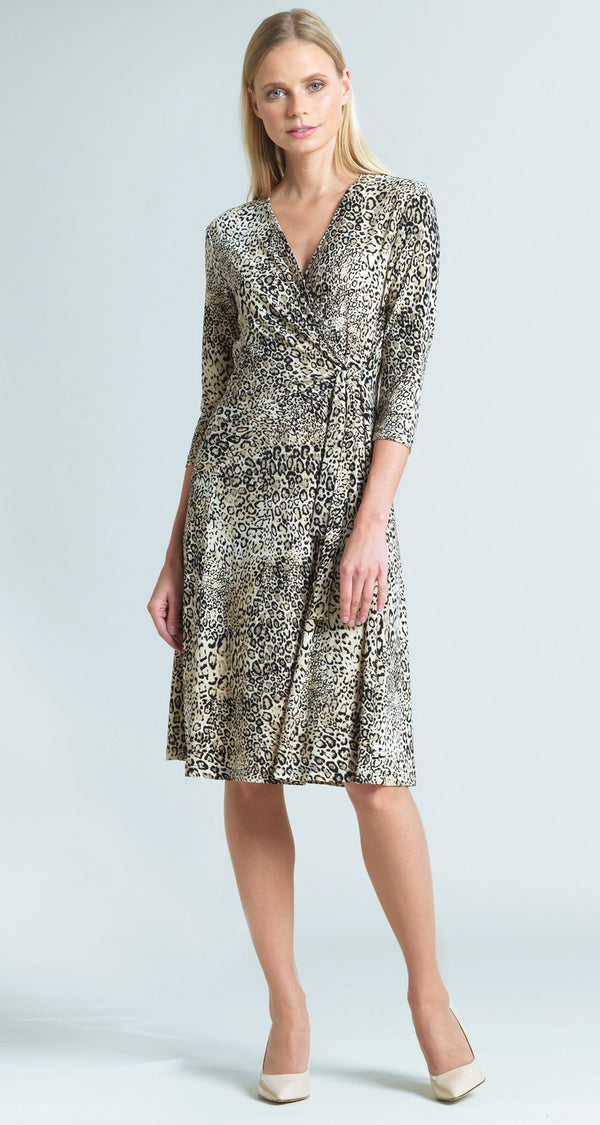 Cheetah Print Side Tie Wrap Dress
