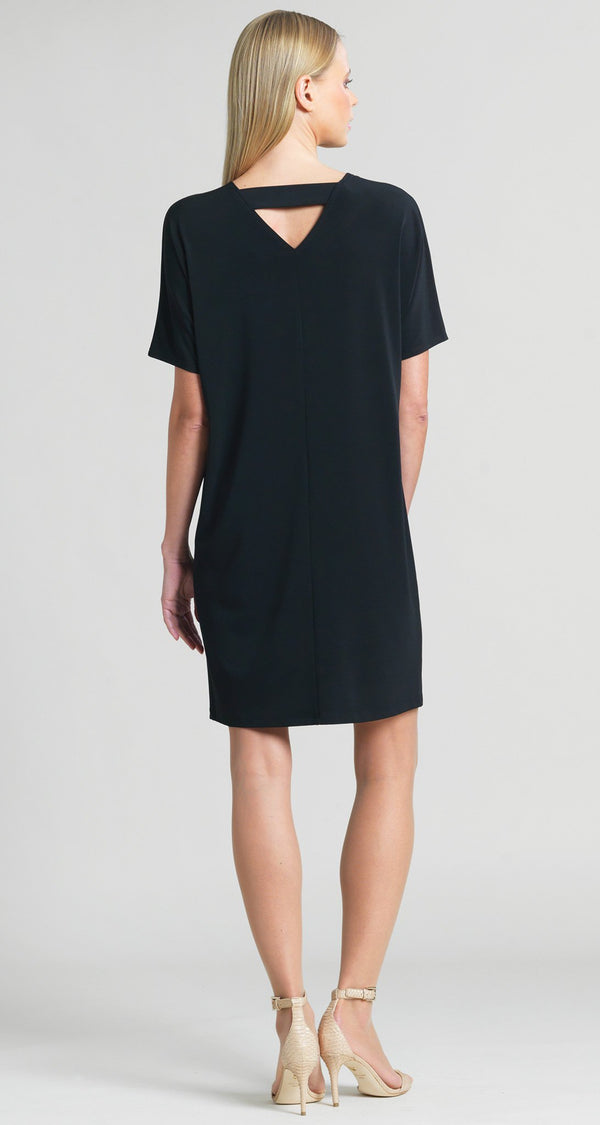 Back Cross Bar V-Cut Out Shift Dress - Black - Limited Sizes! - Clara Sunwoo