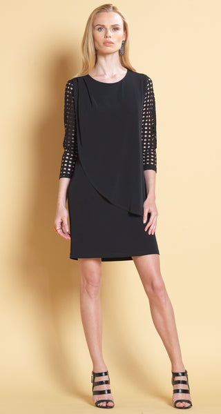 Perforated Sleeve Overlay Dress