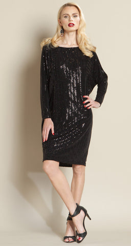 Shimmer Dolman Tunic Dress - Black - Clara Sunwoo