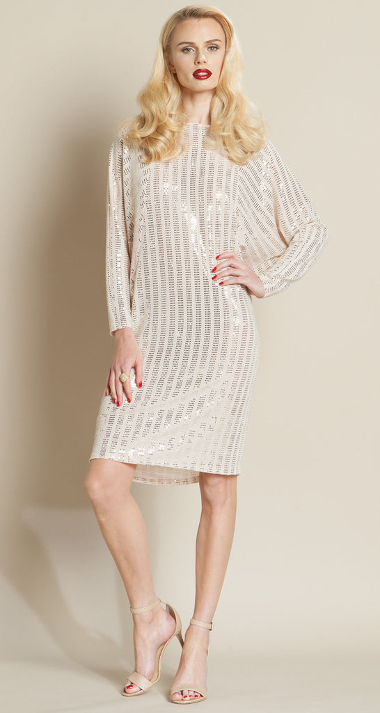 Shimmer Dolman Tunic Dress - Champagne