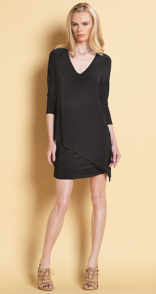 V-Neck Long Sleeve Ruched Dress - Black