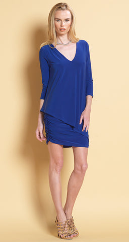 V-Neck Long Sleeve Ruched Dress - Clara Sunwoo