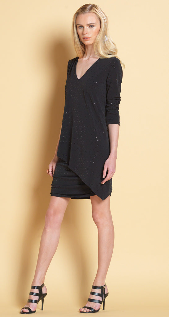 Shimmer V-Neck Ruched Dress - Black Shimmer - Final Sale