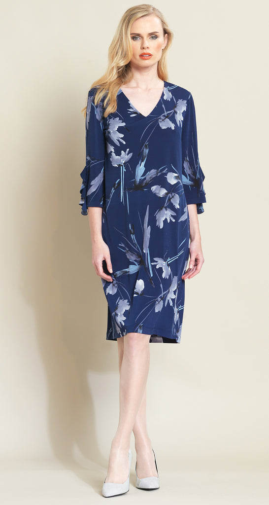 Floral Leaves Print Ruffle Cuff Dress - Navy/Grey