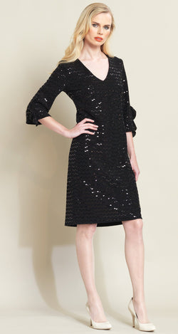 Shimmer Ruffle Cuff Dress - Black - Final Sale!