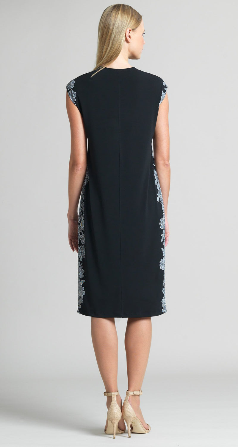 Lace Trim Print Silhouette V-Neck Dress - Clara Sunwoo