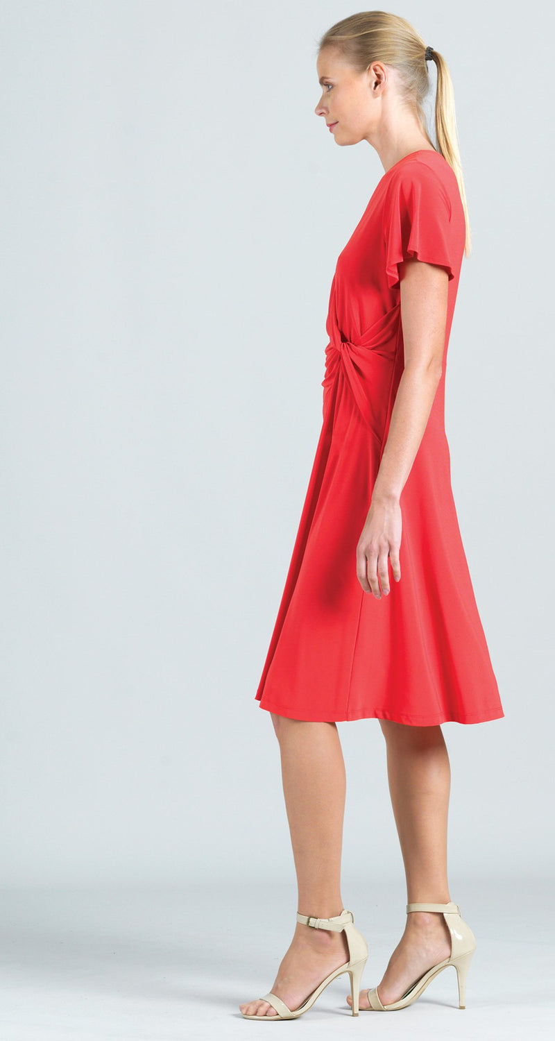 Solid Front Twist Dress - Coral
