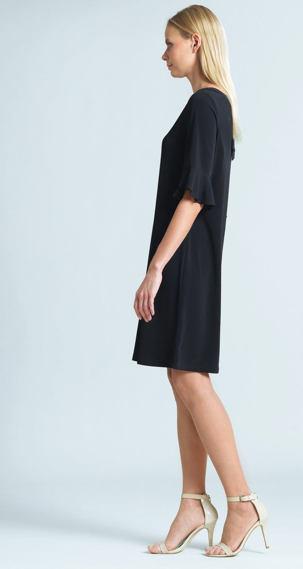 Tulip Cuff Tie Back Dress - Black