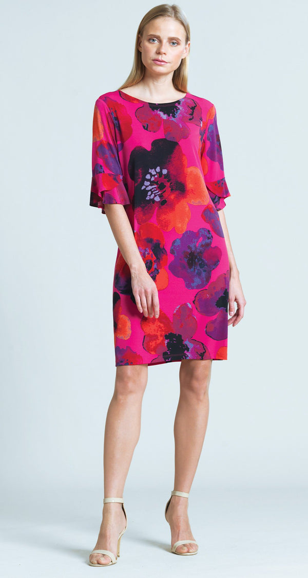 Poppy Print Tulip Cuff Tie Back Dress