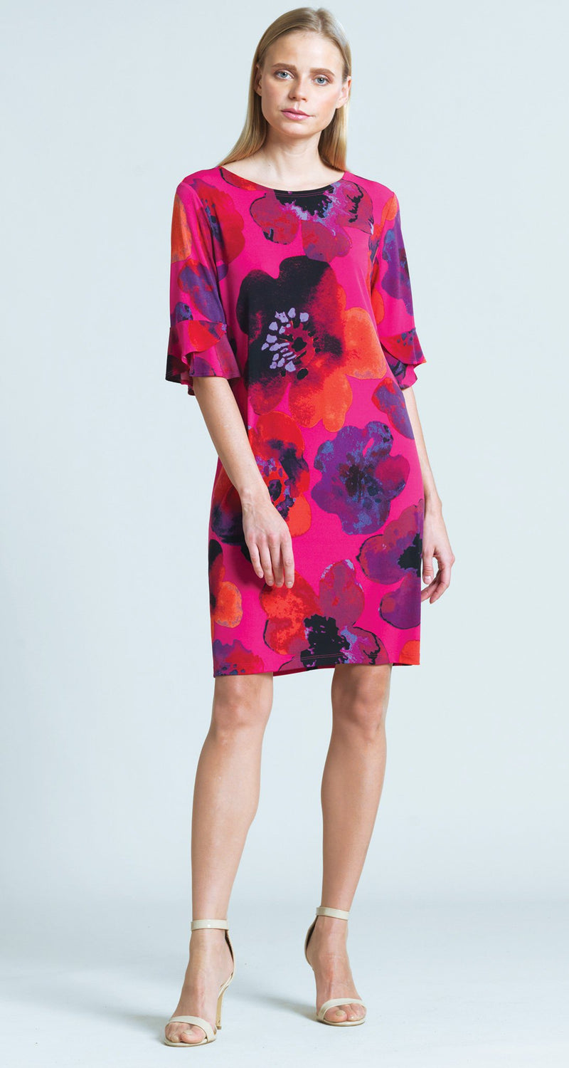 Poppy Print Tulip Cuff Back Tie Dress